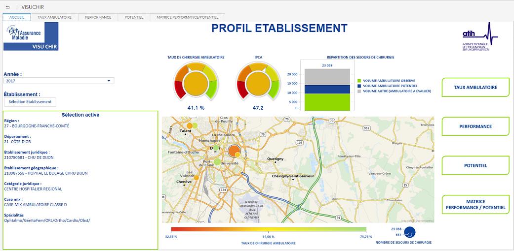 Cette application permet à un établissement de se comparer de façon géographique, avec une carte faisant figurer le volume et le taux de chirurgie ambulatoire des établissements et des sites voisins.